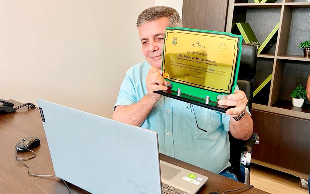 Presidente da Asplan é homenageado em evento online pelo Grupo de Estudos Sucroenergético da UFPB do Campus de Areia